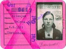Пропуск № 9417 Близнюк Елены, 1921 года рождения, работницы завода «Hasag» в г.Альтенбурге. Выписан 27.06.1944 г.