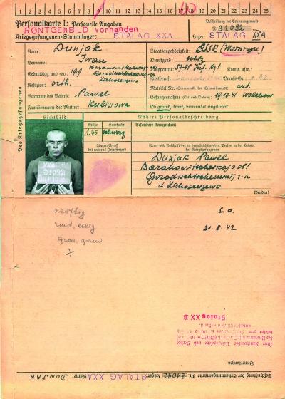 Личная карточка военнопленного Ивана Дуняка, 1919 года рождения, белоруса, солдата 59#95 стрелкового полка. 19.10.1941 года под Волховом он попал в плен и находился в Шталаге ХХ А. 11.09.1942 года был переведен в лагерь ХХБ в составе рабочей команды Данциг#Кайзергафен. 1.10.1944 года бежал из лагеря.