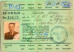 Пропуск на проход в порт г. Рига № 10699, выписанный 21.04.1943 г. на имя Остейко (?) Георга, 1909 года рождения, проживавшего в г. Риге.